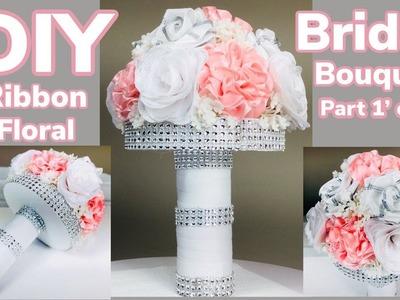 Dollar Tree DIY Satin Ribbon Floral Arrangement Part 1' of 2' Bridal Bouquet Under $10 2019