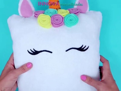 Easy Unicorn Pillow to do just in 5 minutes. No sew