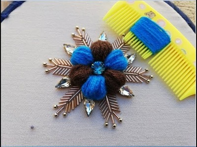 Hand embroider amazing trick ,easy woolen flower embroidery trick with hair comb.