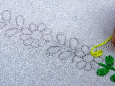 Hand Embroidery,  Border Line Embroidery, New Border Design, Lazy Daisy Stitch
