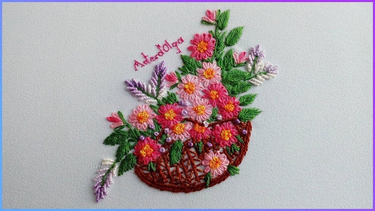 Hand Embroidery: Daisy Flower Basket   Bordados a mano: Cesta de Margaritas   Artesd'Olga