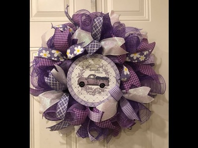 How to make a poof curl wreath on a 12in base Purple lavender truck