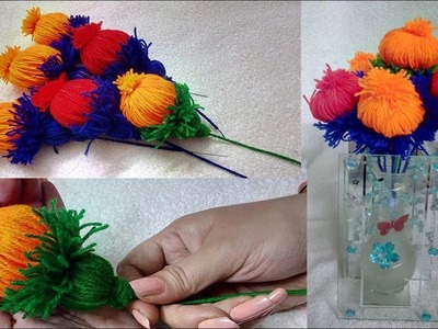 Marigold Woolen Flower Latest And Easy Design Making. Woolen Crafts --  | Hand Embroidery