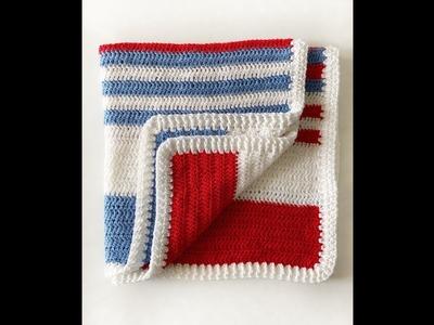 Beginner all DC Blanket with Ribbing Border