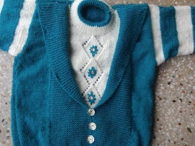 Coat collar neck wala fancy double colour sweater design in Hindi