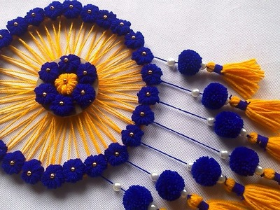 DIY Wall Hanging out of Wool Crafts Ideas. Wool Flower Making. WOW ! Amazing Wall Hanging Craft