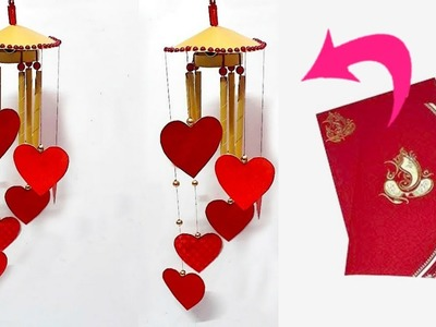 DIY Wind Chime.jhumar.Wall Hanging From waste wedding card at Home|Jhumar craft idea|DIY Room Decor