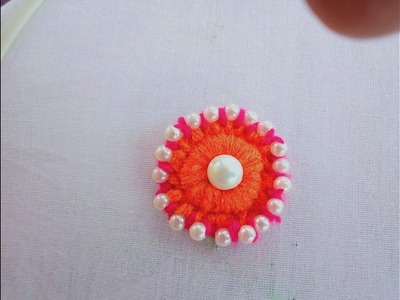 Hand embroidery. Trick embroidery to make a flower.