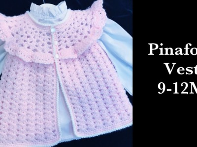 How to crochet easy pinafore style sweater vest for baby girls 6-18M by Crochet for Baby #179