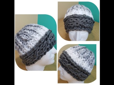 How to finger knit cable hat with loops boucles yarn