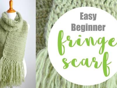 How To The Crochet Easy Beginner Fringe Scarf (Learn To Crochet Series)