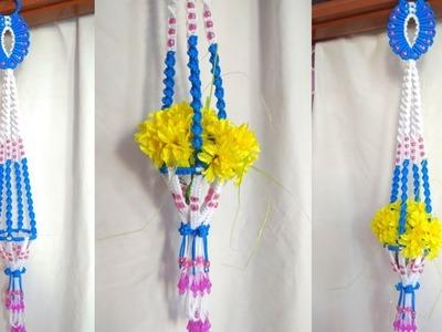 Macrame flower hanger  for beginners