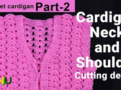 Pink cardigan Part 2 | Cardigan neck and shoulder Cutting design