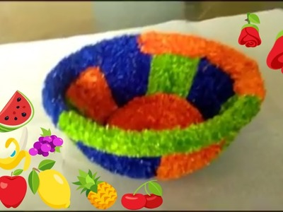 Plastic Basket Woolen Decoration ll DlY-Plastic Tokri Decoration idea at Home