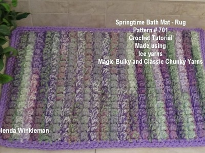 Springtime Bath Mat  - Rug Crochet Tutorial made using Ice Yarns Magic Bulky and Classic Chunky