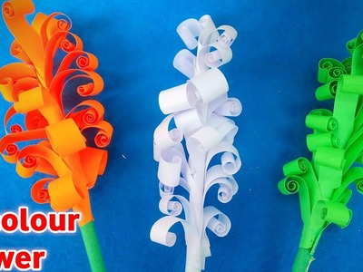 Tricolour Paper Flower   Republic Day Decoration   Amazing Paper Crafts   DIY Quilling Paper Flower