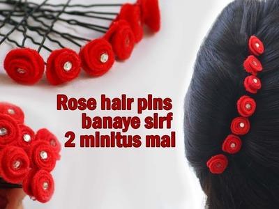 Tutorial for Rose hair U pins. Beautiful hair accessory