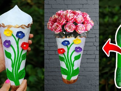 Wall hanging flower vase  with Plastic Bottle. Flower vase making