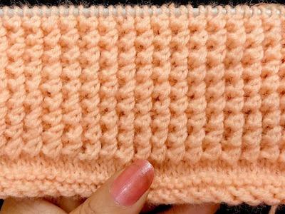 आसान 2 सलाई का बुनाई  डिज़ाईन, Easy 2 Row Knit Pattern for Sweater, Cardigan, Pullover, Jacket, Cap,