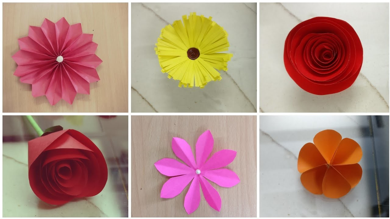 6 Easy Paper Flower Making Diy Paper Craft Easy And Simple Paper