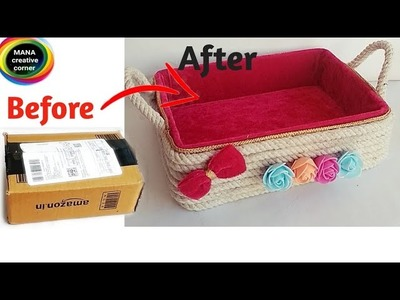 Beautiful Basket from waste cardboard box# Best cardboard box craft idea# DIY Rope Basket _cardboard