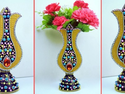 Best Out of Waste Flower Vase Making | Plastic Bottle and Cardboard Combination Home Decor Idea