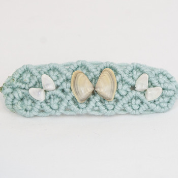 Blue Macrame Hair Barrette