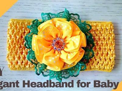 D.I.Y. Elegant Headband for Baby #freetutorial #grossgrain #babyheadband #flowerheadband