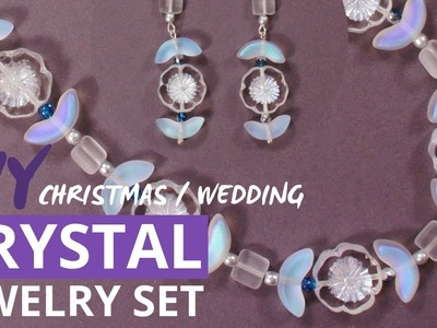 DIY Christmas Gift Crystal Beaded Jewelry Set, Wedding Jewelry Set For Bride - Easy Tutorial