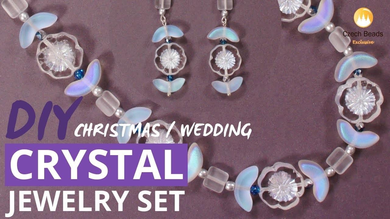 DIY Christmas Gift Crystal Beaded Jewelry Set, Wedding Jewelry Set For Bride - Easy Tutorial