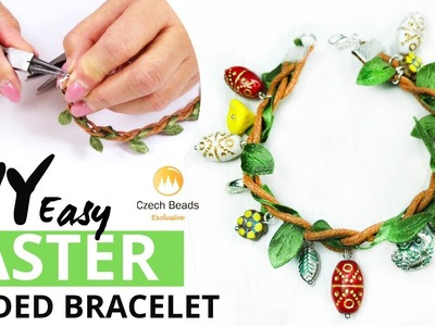 DIY Easter Jewelry with Eggs: How to Make Bracelet From Czech Glass Beads - Easy Tutorial