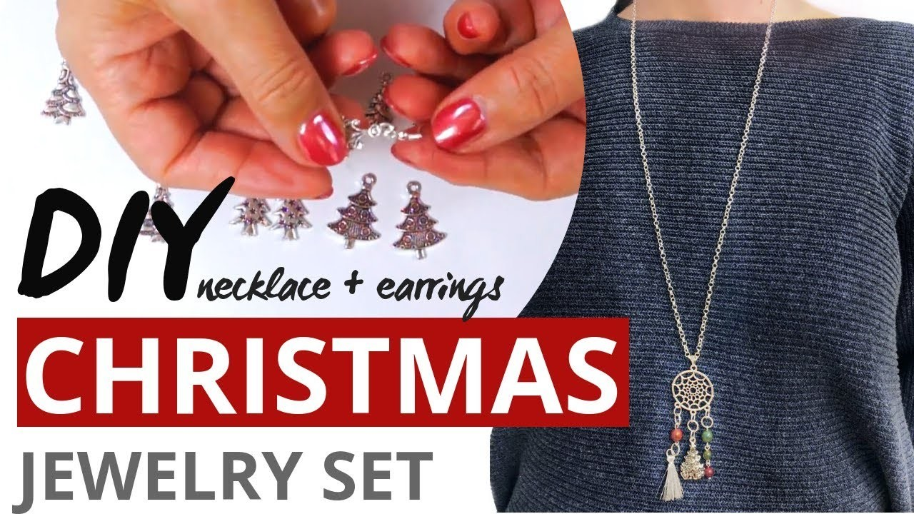 DIY How To Make Christmas Jewelry Set: Necklace & Earrings - Easy Tutorial
