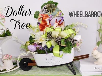DOLLAR TREE WHEELBARROW DIY GARDEN PLANTER DECOR ????SPRING EASTER FLORAL DECOR CRAFT TUTORIAL