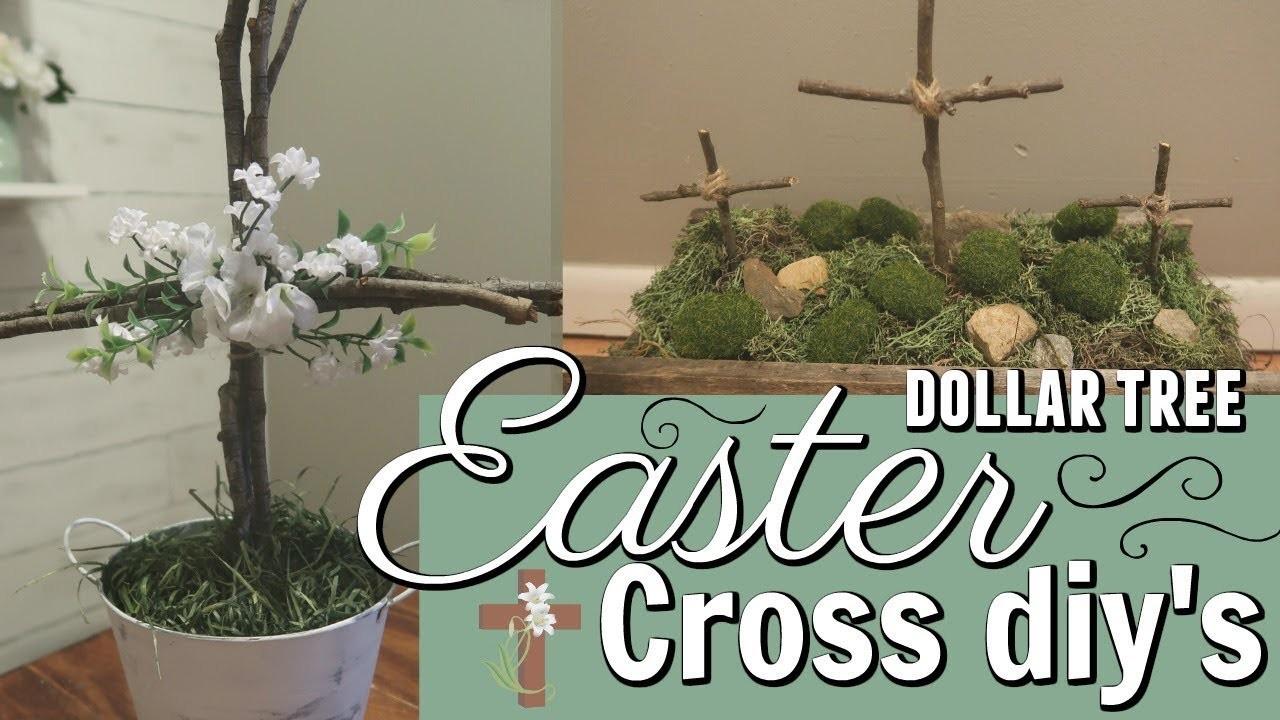 EASTER CROSS DIY'S. DOLLAR TREE EASTER DECOR IDEAS. EASY DOLLAR TREE EASTER DECOR