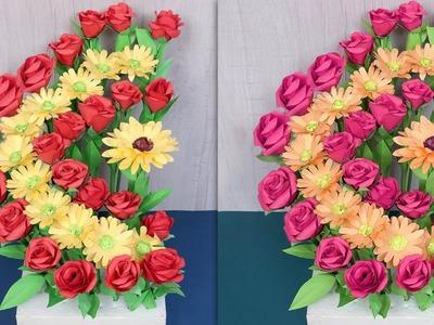 Easy.  Paper Flower Pot || DIY Room Decor - DIY Projects !!!