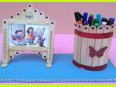 Easy Pen Stand and Photo Frame with Ice Cream Stick || Photo Frame by Parth WorlD