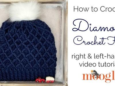 How to Crochet: Diamond Crochet Hat (Left Handed)