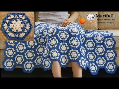 How to crochet easy  blanket blue and white afghan free tutorial by marifu6a