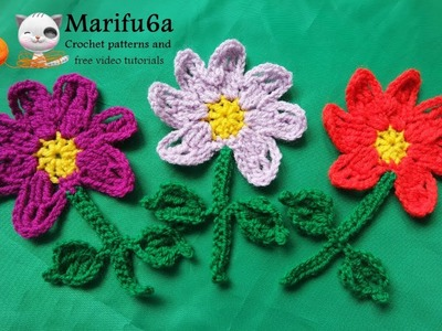 How to crochet flower with steam applique bookmark free pattern for beginners