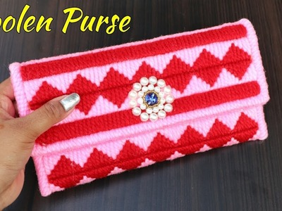 How to make a woolen ladies hand bag Or Purse Using Plastic Canvas | DIY Ladies Purse Woolen Craft