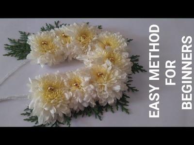 How to make bridal flower veni easy method for begineers.chrysanthimum.Gajra.shevanti.jadai veni.DIY