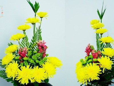 How to make the Yellow Chrysanthemum ,Snapdragon Flower Arrange ? 139