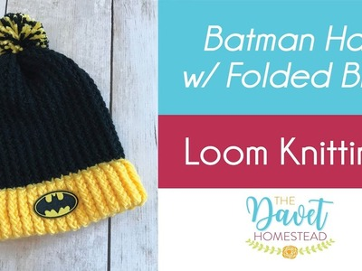 Loom Knit Batman hat with folded brim and Pom Pom