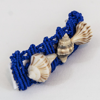 Macrame and Sea Shell Hair Barrette