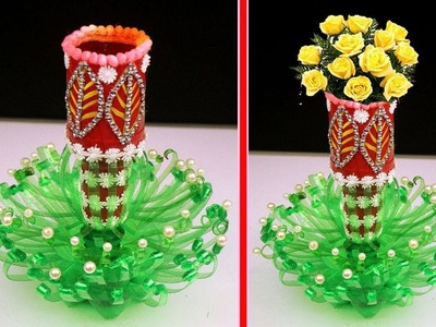 Plastic Bottle Flower Vase Amazingly Easy Recycling || Wonderful DIY Woven Plastic Bottle Vase