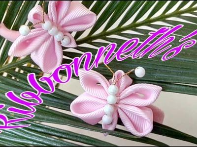 Ribbonneth's   Easy Kanzashi Cute Butterfly #kanzashi #butterfly #grosgrain #ribbon
