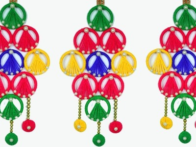 Special woolen door hanging toran making at home using bangles   Easy way to making wall hanging