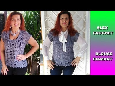 "SPRING BLOUSE ""DIAMOND"" easy tutorial any size ALEX CROCHET"