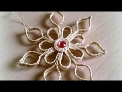 Wow ! Amazing jute rope craft diy. .Jute flower craft making ideas | wall hanging with jute rope.