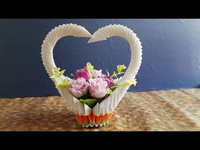 DIY Crafts.Amazing paper Flower Basket. Crafty How to Make beautiful Flower Basket.